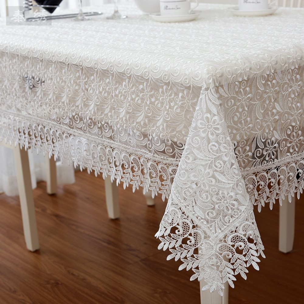 Victorian rectangular lace tablecloth floral Top quality white wedding gift beautiful vintage classic square