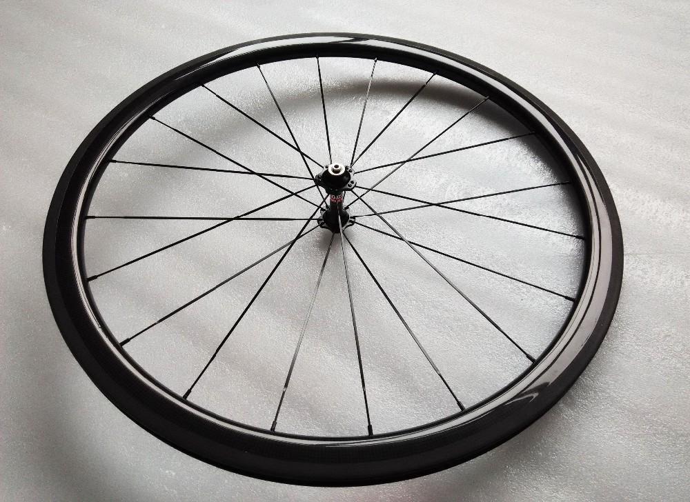 carbon wheels clincher 38mm 700C road bike clincher 38mm 3k glossy  black wheelset (3)