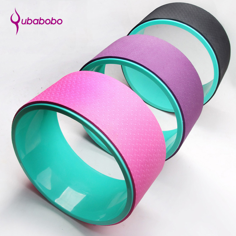 4 Colors TPE Yoga Circle Wheel Pilates Foam Roller Yoga Ring Home Slimming Fitness Equipment For Yoga Gym Accessories QUBABOBO