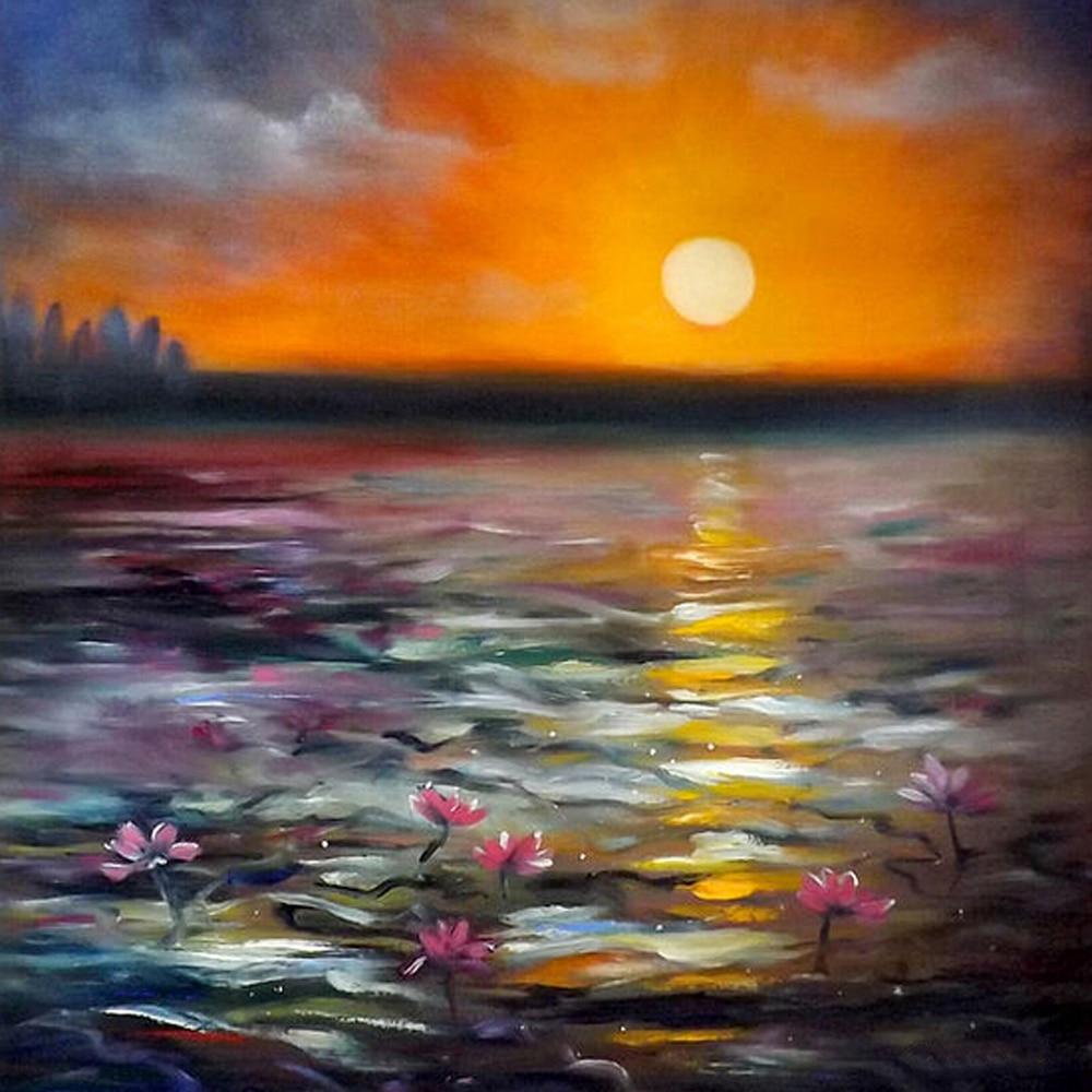 High skill handmade sunsets scenery oil painting on canvas for Paesaggi marini dipinti