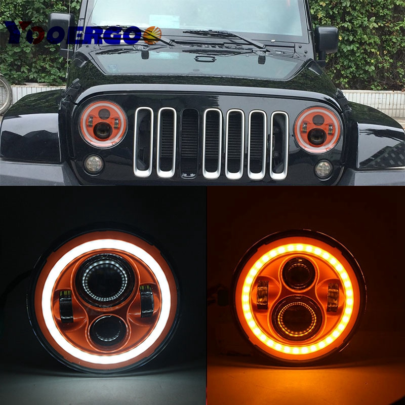 7 inch Round Headlights Orange led headlight DRL Daymaker For Jeep Wrangler 97-15 Hummer Toyota Defender Motorcycle Headlamp 9012 hir2 led headlight bulbs 50w 8000lm fanless auto headlamp conversion kit for toyota chevrolet cadillac buick gmc ford jeep