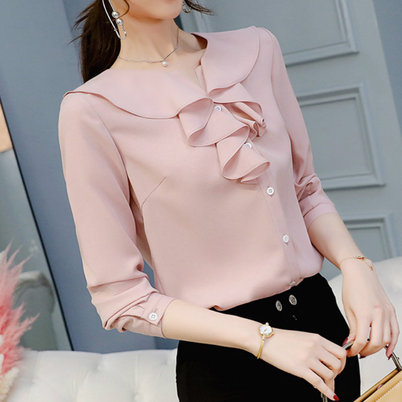 New 2019 Women's   Blouse   Spring Autumn   Shirt   Summer Fashion Long Sleeve   Shirts   Plus Size Womens Tops Elegant   Blouses   Ladies Top