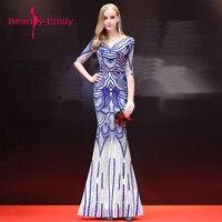 Beauty Emily Beading Formal Dresses Vestido De Fiesta Mermaid Royal Blue Long Evening Gown 2018 New