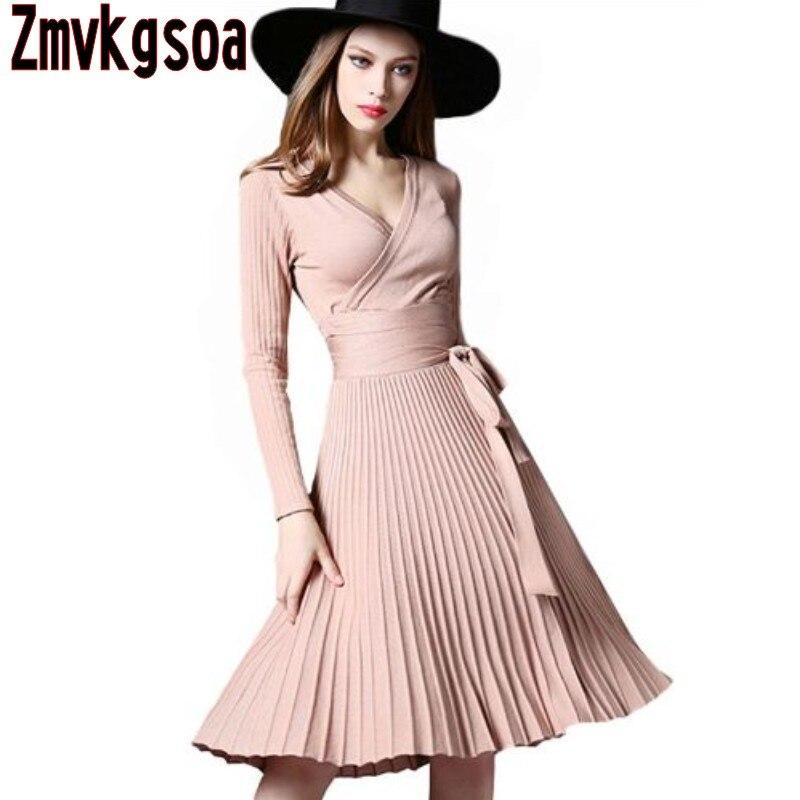 Zmvkgsoa Haute Qualité Élégant Hiver Robe 2017 Robes Bureau Pour Les Femmes Décoratif Ceintures V-cou Plus La Taille Vintage Robes V48