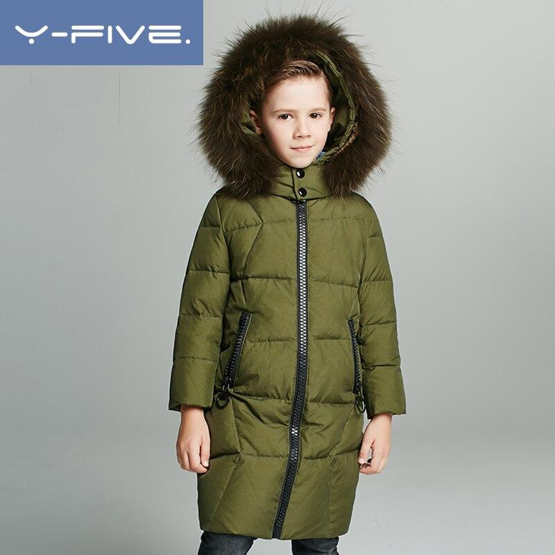 Winter Down Coat 2019 New Year Fur Hooded Boys Snow Jacket -4233