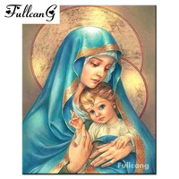 FULLCANG Diy 5d Diamond Painting Virgin And Child Full Square Mosaic Cross Stitch Diamond Embroidery Religious