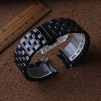 16mm 18mm 20mm 22mm 24mm Width Stainless Steel Band for Brand mens Black metal Watch Strap Metal Wristband bracelets curved ends