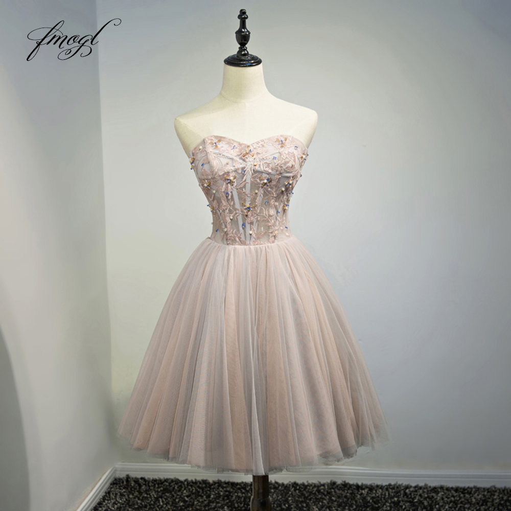 Fmogl Elegant Strapless Knee Length   Cocktail     Dresses   2019 Beading Embroidery A Line Short Special Occasion   Dress   For Party