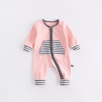 Peninsula Baby New Style Autumn Winter Baby Climbing Clothes Front Striped Back Smiling Face Comfortable Keep