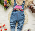 2016 de La Moda de Primavera de Ocio Pantalón para Las Niñas Pantalones Del Babero Overol de Mezclilla Pantalones Niños Infantiles de Dibujos Animados Pantalones Vaqueros