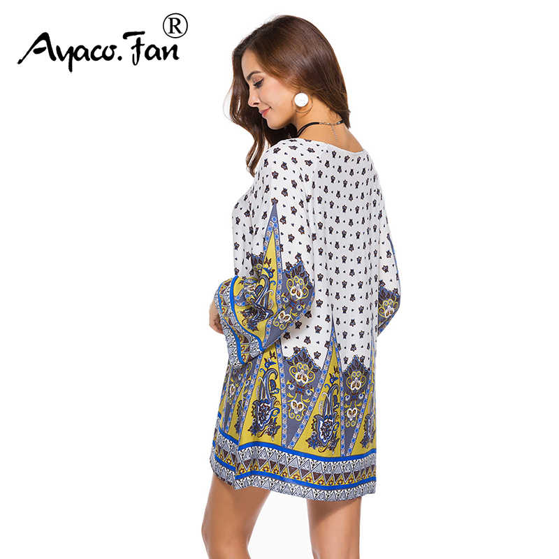 Женское богемное большое свободное мини-платье, летние новые платья с круглым вырезом и принтом, винтажный этнический Макси пляжный сарафан, свободный Vestidos размера плюс