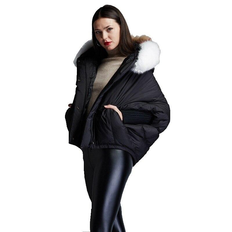 250419599 Aliexpress.com : Buy Winter women's fashion short down jackets big hair  collar hooded loose down jacket batwing sleeve down coat for women EF6688  18 ...