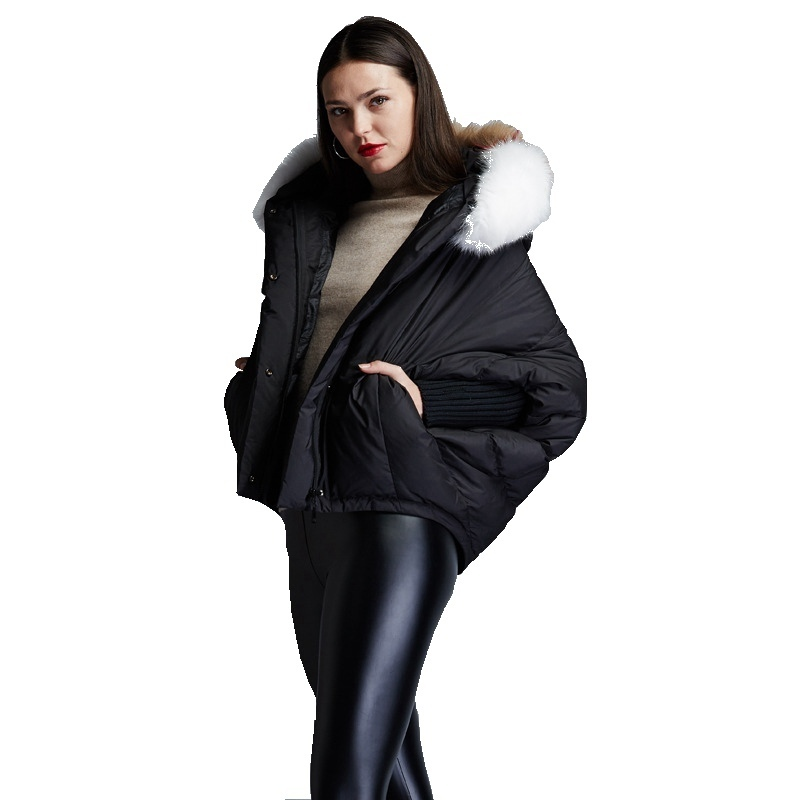 Winter women's fashion short   down   jackets big hair collar hooded loose   down   jacket batwing sleeve   down     coat   for women EF6688-18