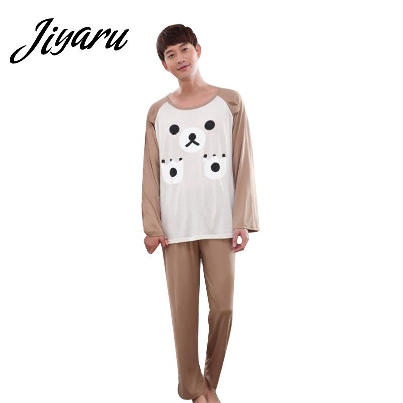 Men O-Neck Pajama Sets Men Boys Cartoon Home Lounge Male Long Sleeves Home Sleepwear Autumn Spring Pyjama Sets for Men SizeL-2XL