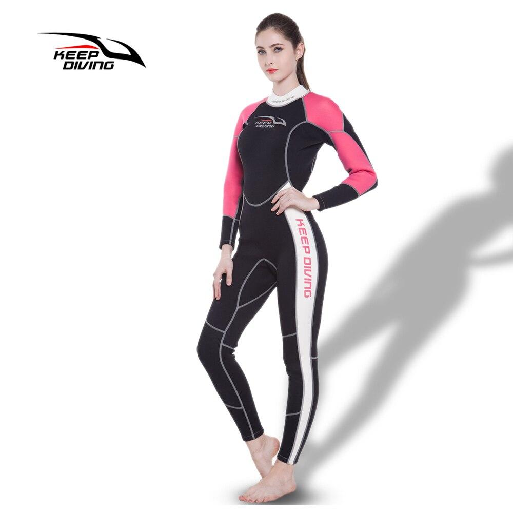 Mantener buceo de las mujeres de neopreno de 3 MM de una pieza de buceo traje de neopreno para el invierno nadar surf snorkel equipo de pesca submarina