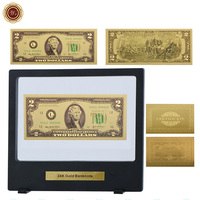 WR Decoration for Home 24k Gold Banknote Home Decorative Gold Foil Fake Money Usd 2 Golden Note Money with Black Box