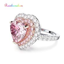 Rainbamabom Real 925 Solid Sterling Silver Love Heart Pink Sapphire Wedding Engagement For Women Lover Ring Jewelry Wholesale cuteeco hight quality silver pan ring love heart ring original wedding jewelry gift for lover engagement accessories