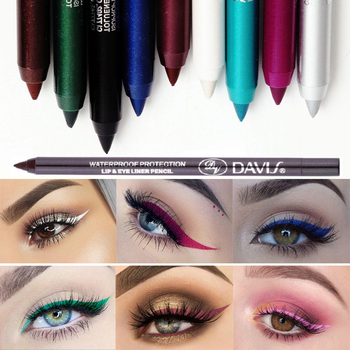 12 Color Glitter Eyeliner Pencil Long-lasting Waterproof Sexy Colorful Eyeliners Pigment Black Brown Red Eyes Makeup Pencil Tool