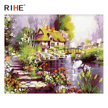 RIHE Lakeside House Diy Painting By Numbers Abstract Swan Flower Oil On Canvas Cuadros Decoracion Acrylic Wall Picture