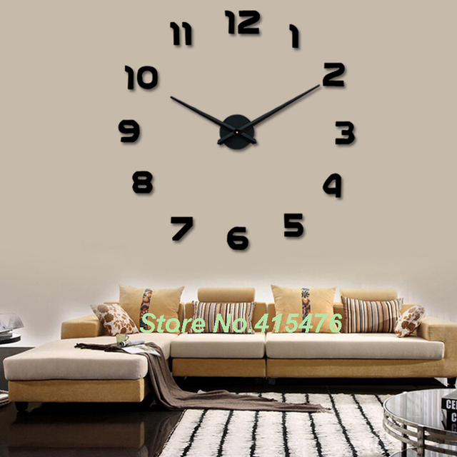 Large Wall Clock 3D Sticker Big Watch Home Decor Unique Gift DIY Hot ...