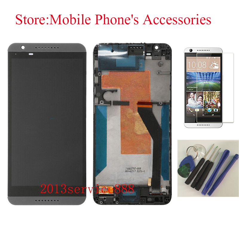 ФОТО New 100% Test LCD Touch Screen Digitizer Assembly with Front Housing For HTC Desire 820 Grey With Free Tools + Tempered Glass