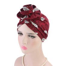 2019 kobiety muzułmańskie kapelusz Retro Turban kapelusz szalik na głowę opaska czapki dla pań moda dziewczyny kapelusz bonnet femme hiver tanie tanio COTTON Dla dorosłych Na co dzień Drukuj 00000 Chiny (kontynentalne) Skullies czapki
