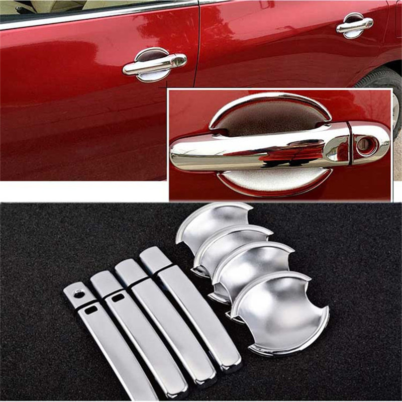 Non-Rusty Chrome Door Handle Bowl Cover Cup Overlay Trim For Nissan Tiida 2011-2016