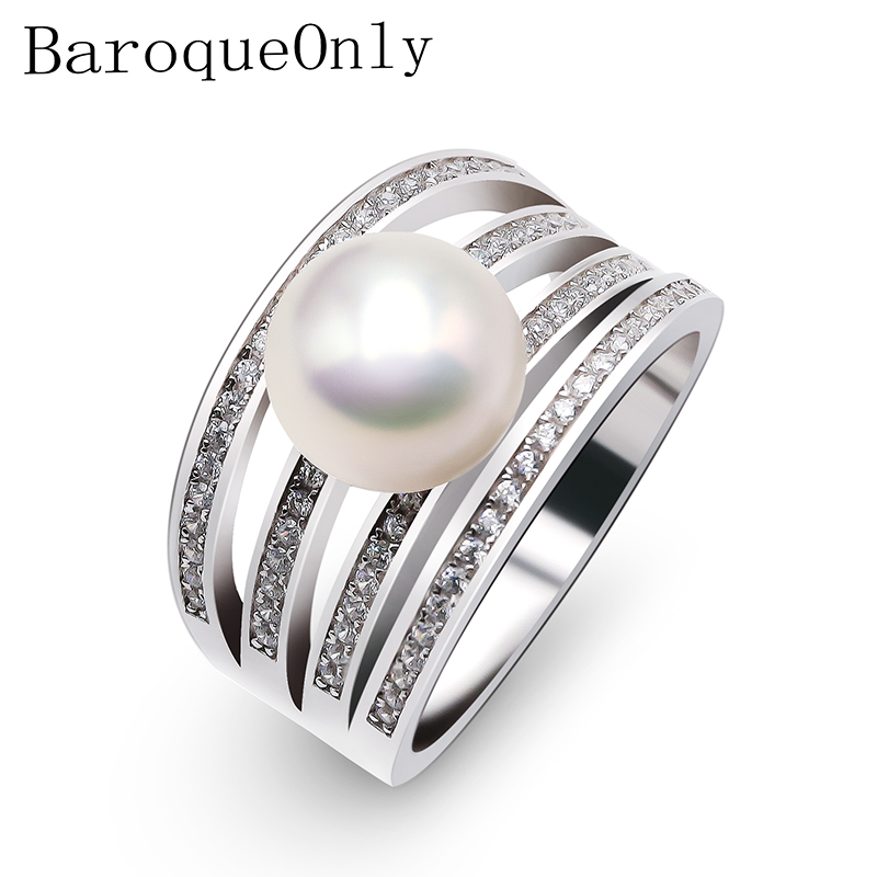 BaroqueOnly Fine Round Rings For Women 925 Sterling Silver Jewelry Natural White Pearl Jewelry Adjustable RingsBaroqueOnly Fine Round Rings For Women 925 Sterling Silver Jewelry Natural White Pearl Jewelry Adjustable Rings