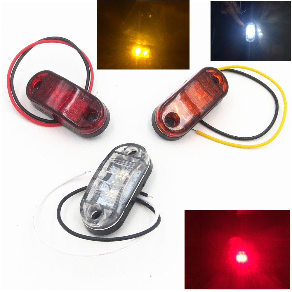 CYAN SOIL BAY Amber Yellow White Red 2 LED Side Marker Light Lamp for Car Truck Trailer Boat Lorry Van Pickup 12V 24V cyan soil bay amber yellow red h1 4014 led 92 smd high power car fog driving light bulb lamp