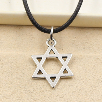 New Fashion Star Of David Shield Hexagram Pendant Necklace Choker Charm Black Leather Cord Factory Price Jewelry