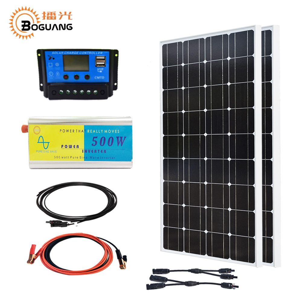 Boguang 200w system kit 2*100w Solar panel mono cell 20A controller 500w pure sine wave inverter connector cable for 12v battery