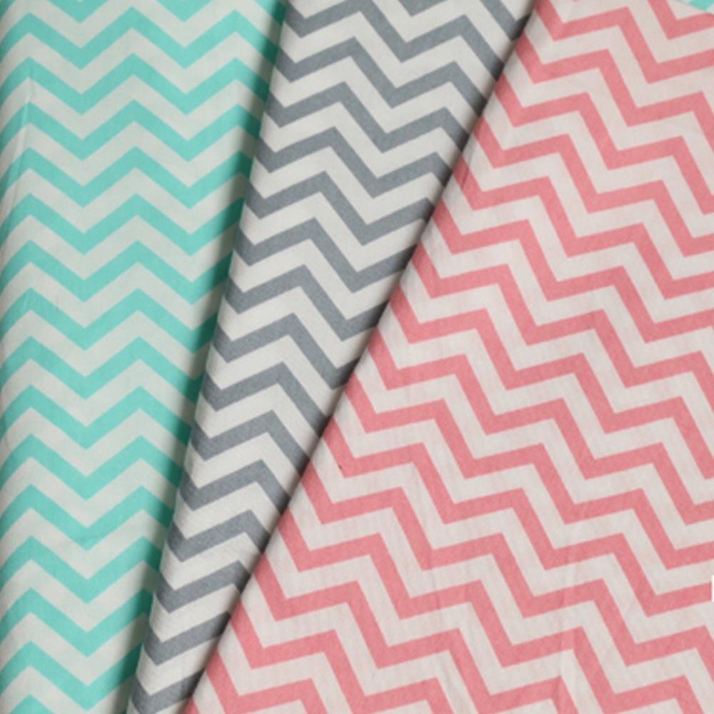 Геометрическая простой серый синий розовый зигзаг Chevron 100% хлопок саржа для DIY постельные принадлежности фартук подушки ручной работы ткане...