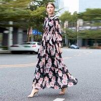 XF Base Plate Length Extra Long Bohemian Dress White Rose Flower Print Long Dress Round Neck Long Sleeve Chiffon Summer Dress