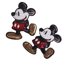 Hot Sale Cartoon Animal Mouse Cat Cloth Sequined Patches Garment Applique DIY Accessories