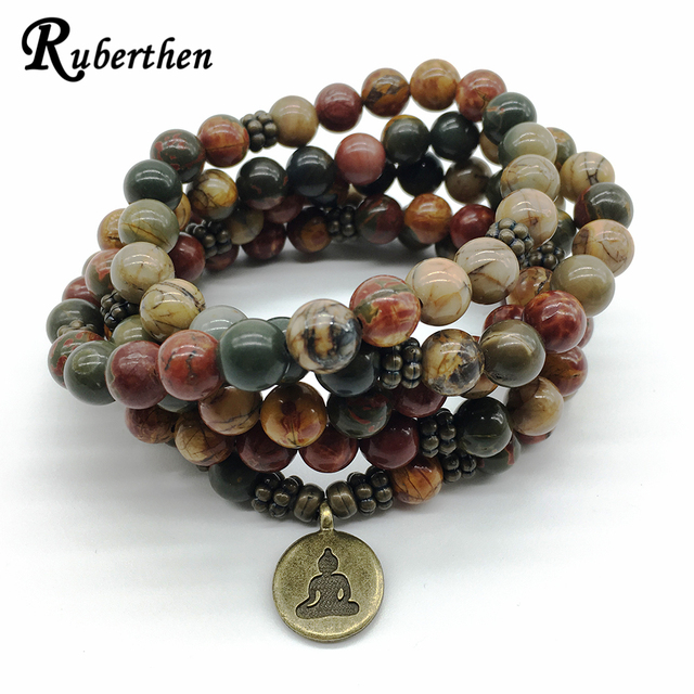 Ruberthen 2018 Design Wrap Buddhist Bracelet Vintage Pico Or Necklace Meditative Healing 108 Mala Yoga