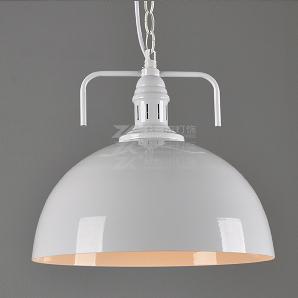 black chain loft bar light round black and white shade retro pendant