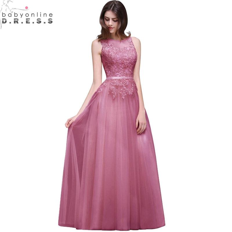 Robe de Soiree Longue Sexy Sheer Back Pink Lace Evening Dress 2019 Cheap Chiffon Evening Party Dresses Long Evening Gown Платье