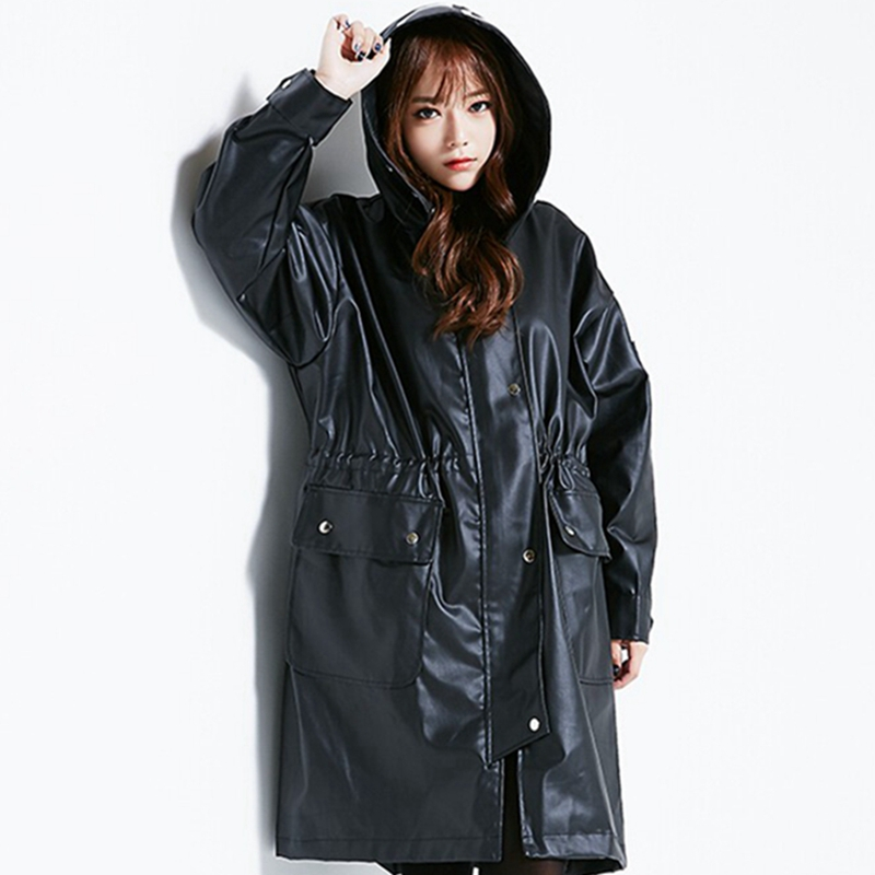 2016 Newest Fashion hooded leather jacket women Black ...
