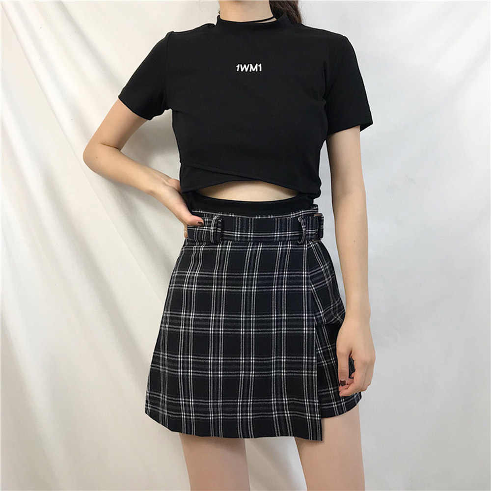 Новинка 2019, летняя женская мини-юбка, клетчатая трапециевидная, высокая талия, повседневная, модная, в полоску, Kawaii, Студенческая юбка, шорты с поясом для девочек