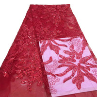 Nigeria Tulle Embroidered 5 Yards High Quality Laces Red African Wedding Sequin Lace Fabric X690 1