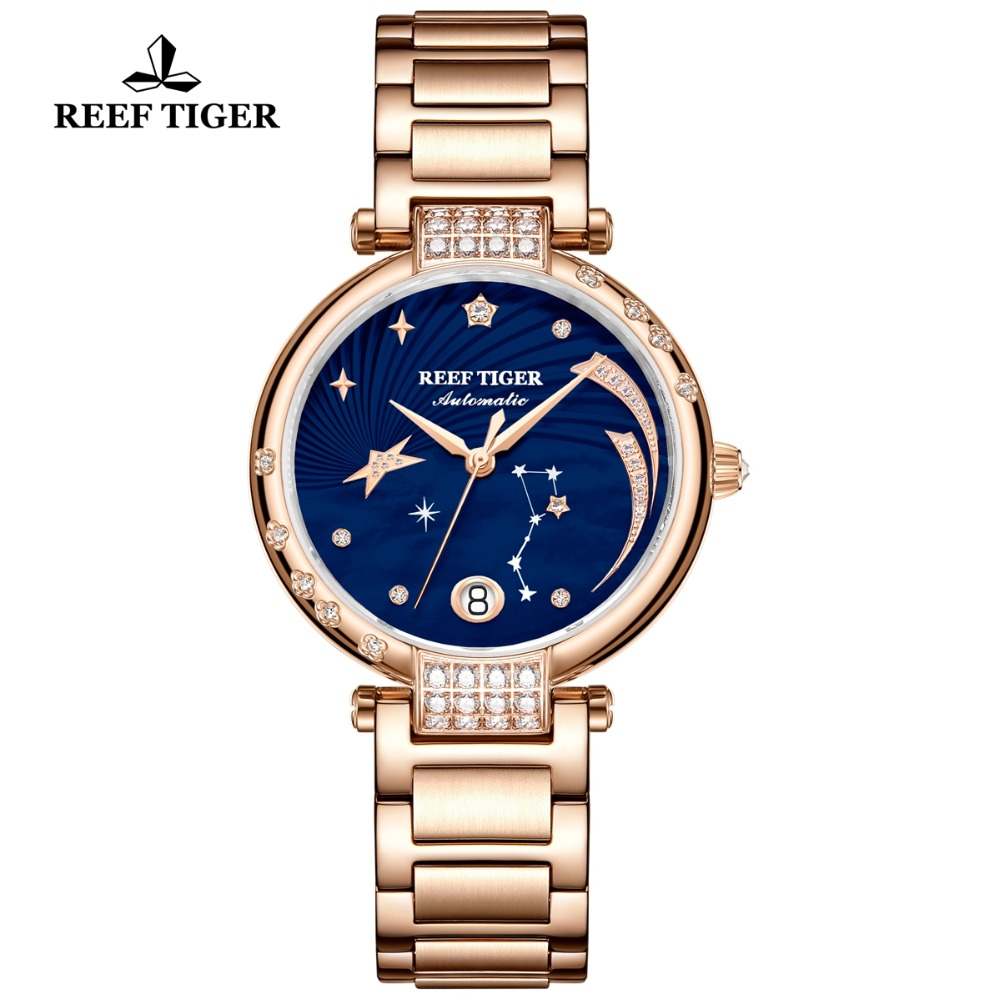 Reef Tiger/RT Luxury Fashion Automatic Watches for Women Rose Gold Diamond Bule Dial Ladies Bracelet Watch Love Galaxy RGA1592Reef Tiger/RT Luxury Fashion Automatic Watches for Women Rose Gold Diamond Bule Dial Ladies Bracelet Watch Love Galaxy RGA1592