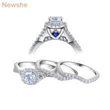 Newshe 3 Pcs Wedding Rings for Women Solid 925 Sterling Silver 1.3 Ct AAA CZ Blue Crystal Engagement Ring Set Trendy Jewelry