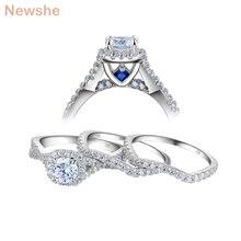Newshe 3 sztuk obrączki dla kobiet stałe 925 Sterling Silver 1.3 Ct AAA CZ niebieski kryształowy pierścionek zaręczynowy zestaw Trendy biżuteria