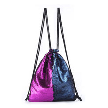 Sequined Backpack Sparkling Double Shoulder Two-color Sequins Drawstring Backpack Ladies Beach Bags Reversible Glitter Bags drawstring bow double zipper backpack
