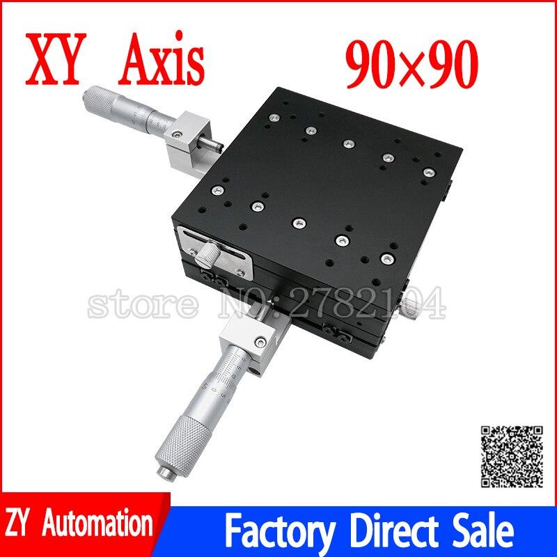 XY Axe 90*90mm Parage Station Manuel Plate-Forme de Déplacement phase linéaire Table Coulissante XY90-LM XY90-C LY90-R Croix Rail - 2