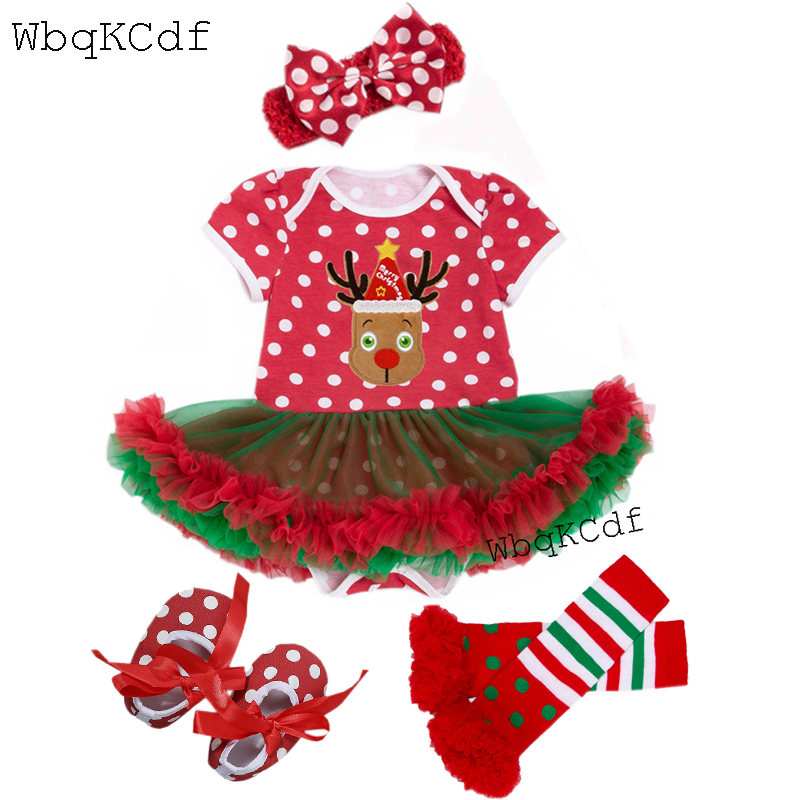 Red Newborn Christmas Clothes Baby Costumes Lace Romper Dress 1st Xmas Outfits Bebes Jumpsuit Newborn Baby Girl Clothes 4PCS