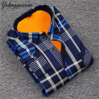 YUTONGYUXUAN 2017 Men Flannel Shirts Warm Winter Solid Male Shirts With Velvet Thick Camisas Masculinas Social