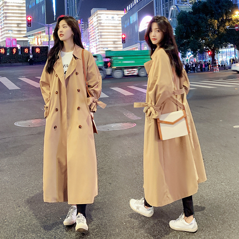2020 new Long   Trench   Coats Women Korean loose dignified atmosphere chic Windbreaker over the knee Spring Autumn Coat 783