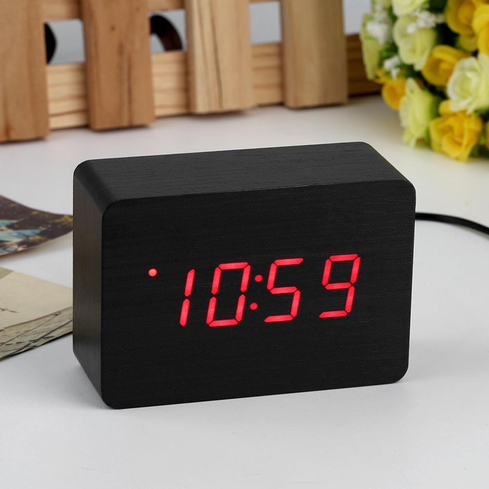 Modern Hours LED Display Wooden Desk Bedside Digital Alarm Clock Thermometer