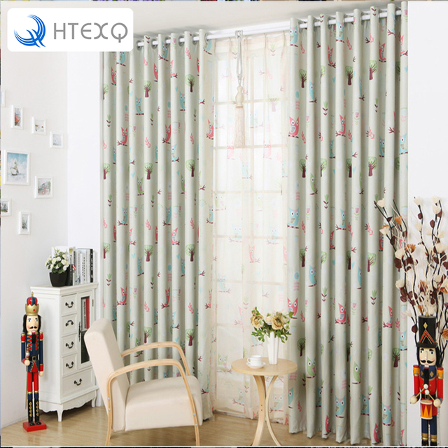 Free Shipping Modern Owl Children Curtain Sitting Room Curtain Curtains  Bedroom Finished Drapes Insulated Blackout Curtains